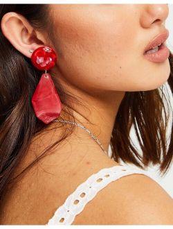 resin drop earrings in red