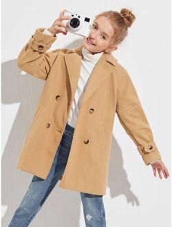 Girls Raglan Sleeve Double Button Overcoat