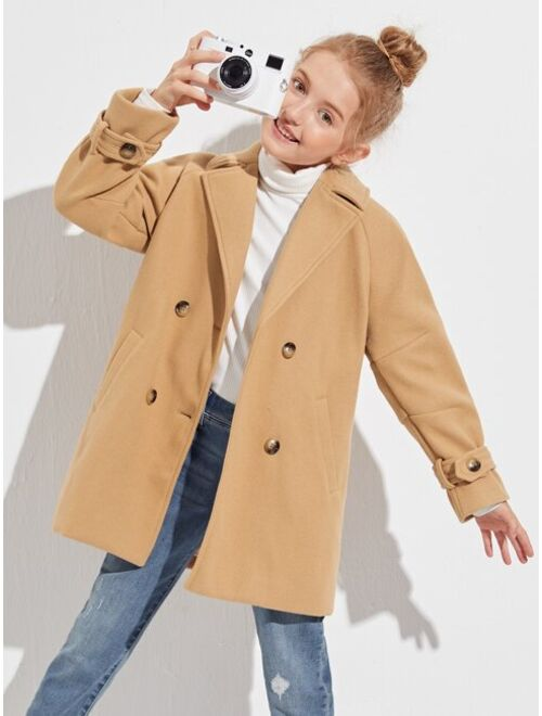 SHEIN Girls Raglan Sleeve Double Button Overcoat
