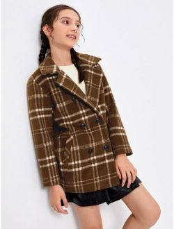 Girls Lapel Collar Split Back Plaid Coat