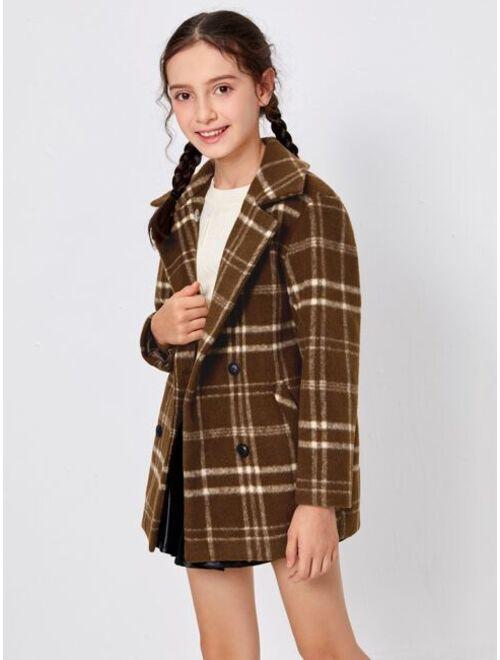 SHEIN Girls Lapel Collar Split Back Plaid Coat