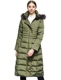 Orolay Women Warm Down Jacket with Hood Fur Raglan Sleeve Coat
