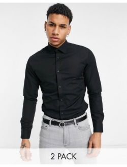 Jack & Jones Essentials 2-pack smart shirt in slim fit black