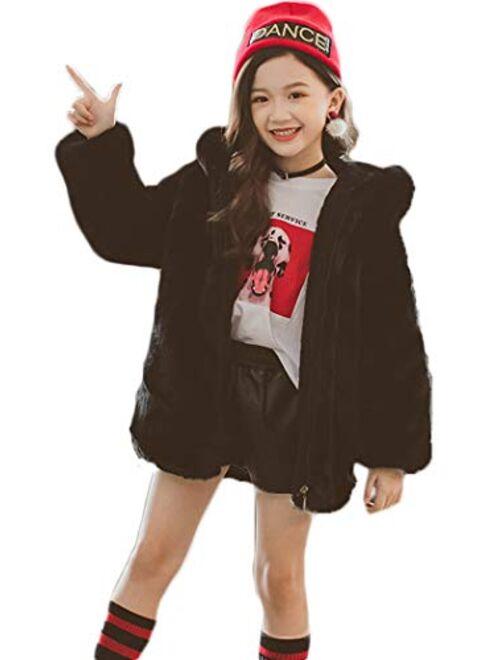 ASHER FASHION Little Big Girls Winter Outfit Hooded Fur Jacket Warm Cotton Fleece Thick Coat Outwear