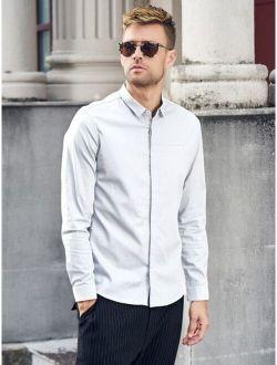 Men Solid Hidden Button Shirt