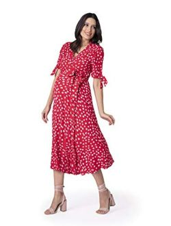Seraphine Women's Maternity Wrap Front Midi Dress Red Floral