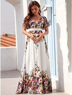 Women's Maxi V Neck Short Ruffle Sleeves Floral Printed Maternity Dress For Party 20799