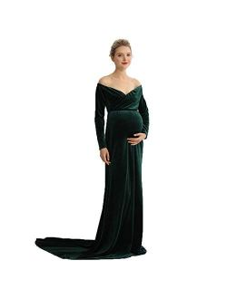 COSYOU Maternity Velvet Dress Long Sleeve Off Shoulders Gown for Baby Shower Maternity Photo Dress Maxi Party Dress