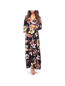 3/4 Sleeve Ruched Maternity Dress W/empire Waist For Baby Showers Or Casual Wear