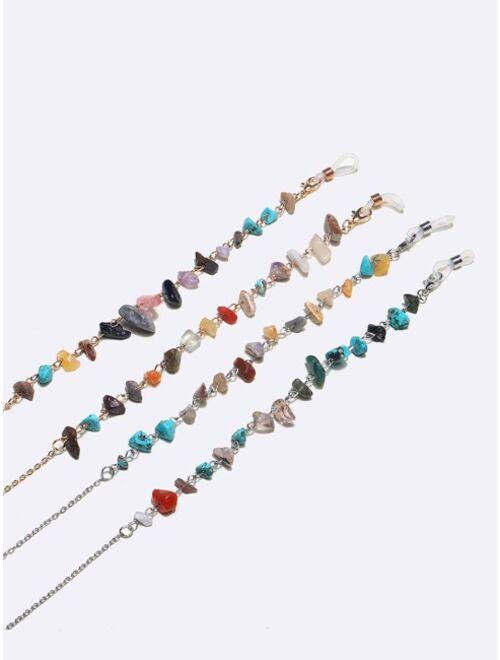 Shein 2pcs Natural Stone Decor Glasses Chain