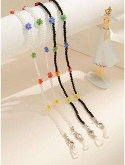 2pcs Flower Decor Beaded Glasses Chain