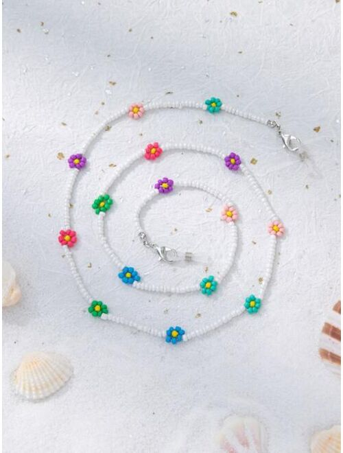 Shein Flower Beaded Glasses Chain