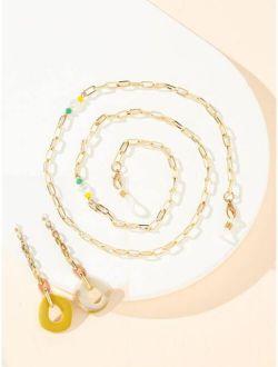 Faux Pearl Decor Glasses Chain
