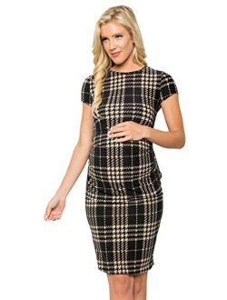 My Bump Women's Maternity Bodycon Causual Short Sleeve Mama Dress(Made in USA)