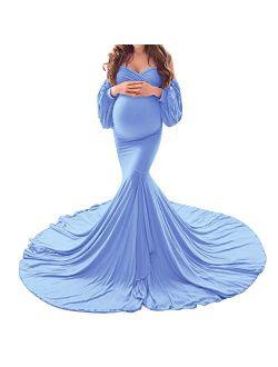 OLEMEK Women Off Shoulder Lace Maxi Maternity Dress Long Puff Sleeve V Neck Elegant Slim Fit Gown Split Pregnancy Photography Dress