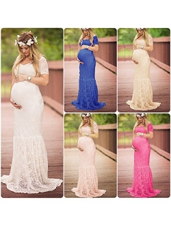 OLEMEK Women's Casual Lace Mermaid Maternity Dress Off Shoulder Short Sleeve V Neck Pregnancy Slim Fit Photography Baby Shower Gowns