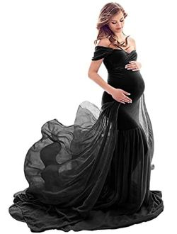 Yuanlar Maternity Fitted Photography Gown Off Shoulder Mermaid Chiffon Maxi Dress for Photo Shoot Baby Shower