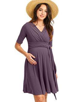 Hello MIZ Flower Print V-Neck 3/4 Sleeve Baby Shower Front Tie Wrap Maternity Dress