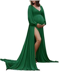 ChoiyuBella Maternity Gown Bishop Sleeves Baby Shower Dress Wrap Side Slit Sweetheart Maxi Photo Shoot for Photography