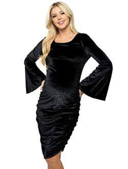 My Bump Maternity Dress Velvet - Premium Soft Stretch Baby Shower Photography Party Bodycon