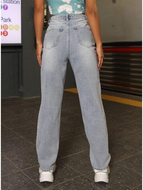 High Waist Butterfly & Fire Print Jeans