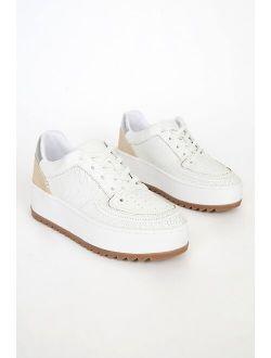Schutz Steffi White Leather Platform Sneakers
