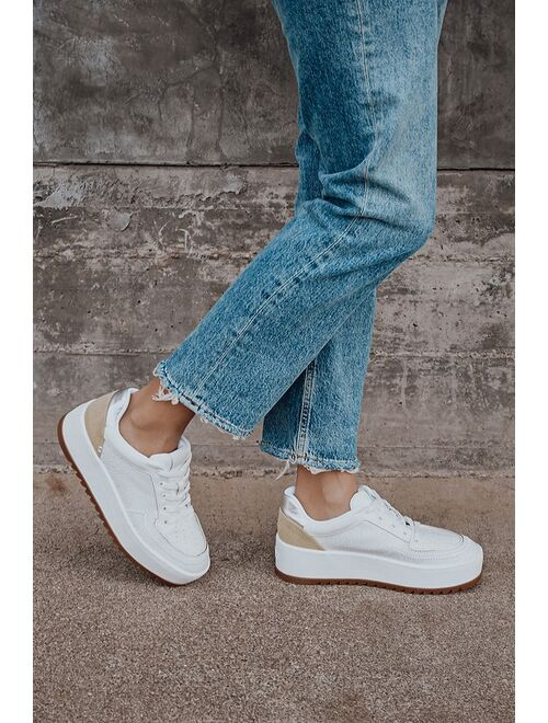 Lulus Schutz Steffi White Leather Platform Sneakers