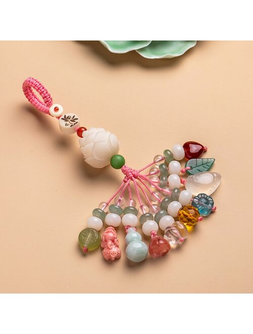 Nautral Crystal Energy Stone Keychain Bring Health Wealth Lucky Pig PIXIU Lotus Key Chains Key Ring Key Holder For Women Jewelry