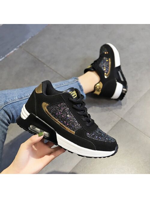 Women Lace Up Sneakers Glitter Autumn Flat Vulcanized Ladies Bling Casual Female Fashion Platform Plus Size Shoes 2020