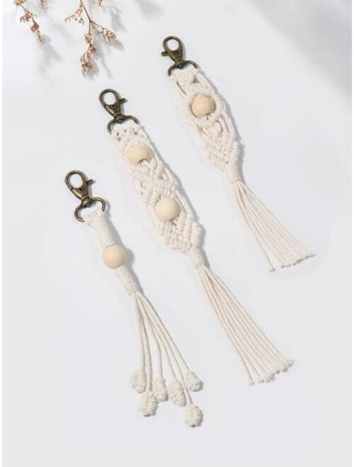 Shein 3pcs Bead Decor Keychain
