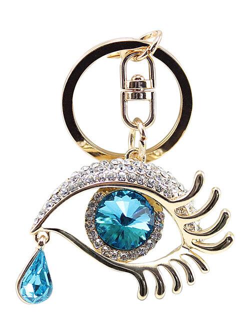 Ella & Elly Blue Crystal Eye Purse Charm Keychain