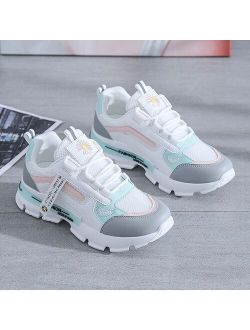 Spring Korean Platform Sneakers Women Shoes Thick Bottom Chunky Sneakers Breathable Mixed Colors Slip On Casual Shoes Woman 2021