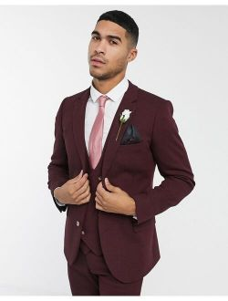 Wedding Super Skinny Wool Mix Wool Mix Suit Jacket In Burgundy Twill