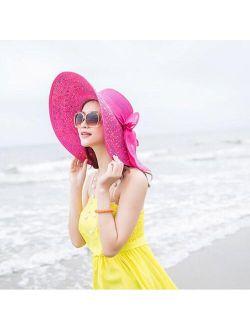 Women Colorful Big Brim Straw Bow Hat Sun Floppy Wide Brim Hats Beach Cap Female Sun Hat Beach Hat Sun Hat Outdoorhat