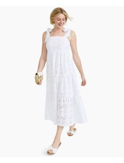 Charter Club Tie-Sleeve Cotton Eyelet Midi Dress, Created for Macy's