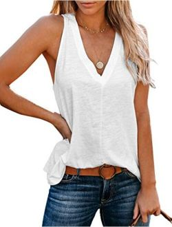 Uincloset Cotton Sleeveless With V Neck Relaxed Fit Top