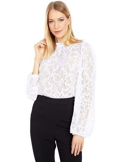 WAYF Tolland Polyester Textured Long Sleeve Top