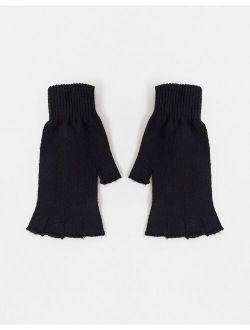 Fingerless Gloves In Recycled Polyester In Black