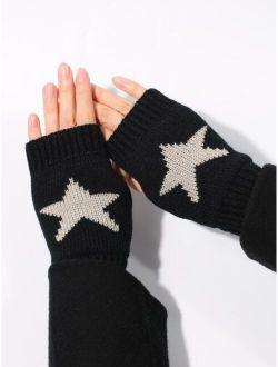 Star Pattern Open Toe Gloves