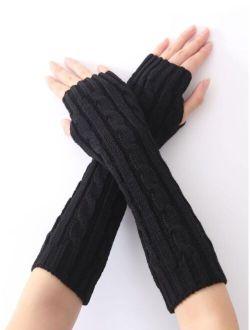 EMERY ROSE Plain Knit Long Fingerless Gloves