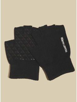 Men Letter Embroidery Knit Half Finger Gloves