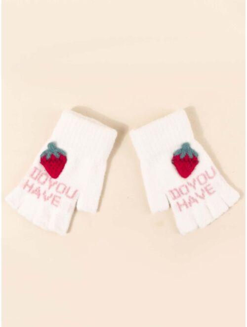 Shein Toddler Kids Letter Graphic Gloves