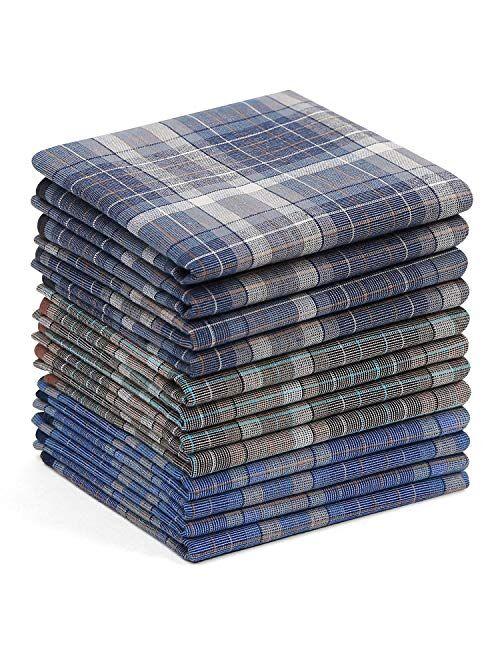 Men's Handkerchiefs Cotton, Ohuhu 12 PCS Handkerchief Great Father's Day Gift