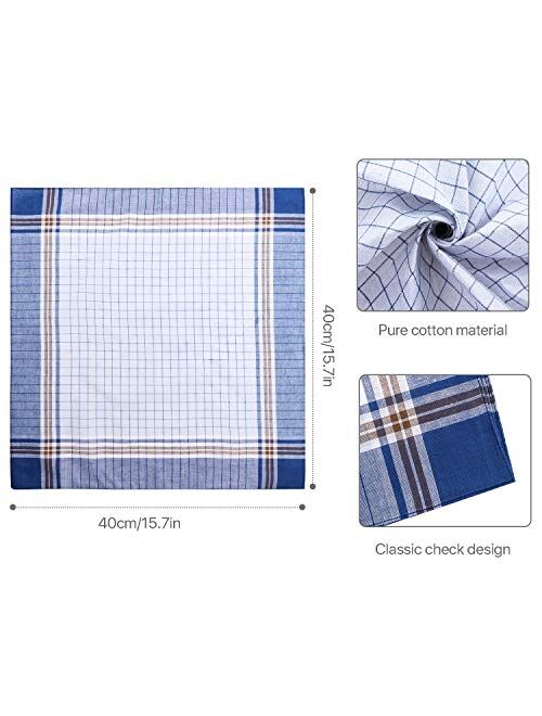 30 Pieces Men's Handkerchiefs Checkered Pattern Handkerchiefs Soft Plaid Hanky Pocket Square Hankies, Gift for Father Men, 16 x 16 Inches, 15 Colors