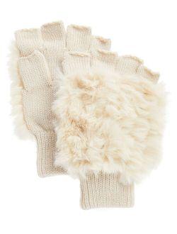 Donna Salyers' Fabulous-Faux Furs Ivory Faux Fur Fingerless Gloves