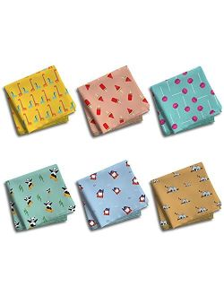 Hexafun 100% Pure Organic Cotton Unisex Handkerchief, Large Size Pack of 6 Multi-color