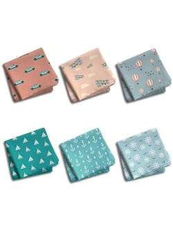 Hexafun 100% Pure Organic Cotton Unisex Handkerchief Multi-color, Large Size Pack of 6