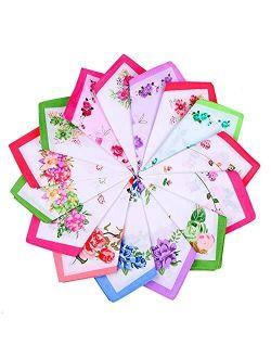 15pcs Women Floral Handkerchiefs Vintage Floral Print Cotton Ladies Handkerchiefs