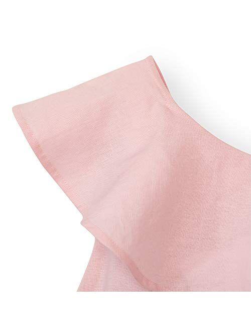 Hope & Henry Girls' One Shoulder Flounce Dress