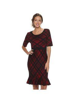 Women's Nina Leonard Plaid Flounce-Hem Dress